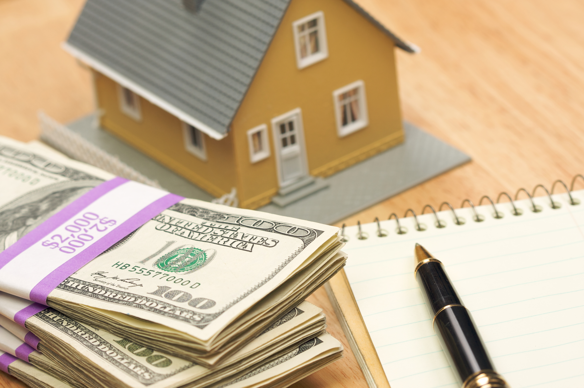 House, Money, Pad of Paper and Pen