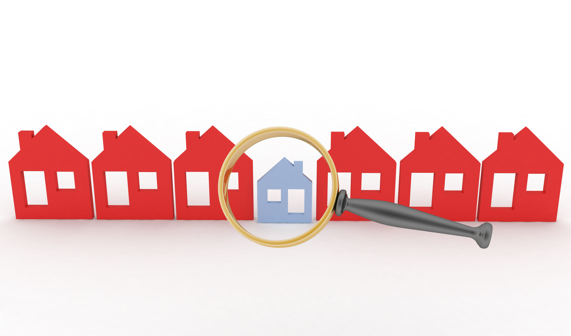 Magnifying glass selects or inspects a home in a row of houses-1