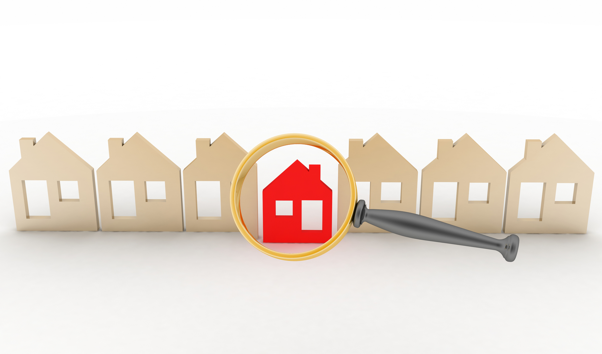 Magnifying glass selects or inspects a home in a row of houses